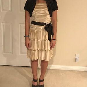Brown Sequin Hearts Ruffle Dress